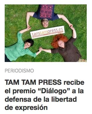 2015. Premio DIÁLOGO del Ateneo Cultural Jesús Pereda de CCOO, a la trayectoria en defensa de la liberdad de expresión. Haz un click en la imagen.