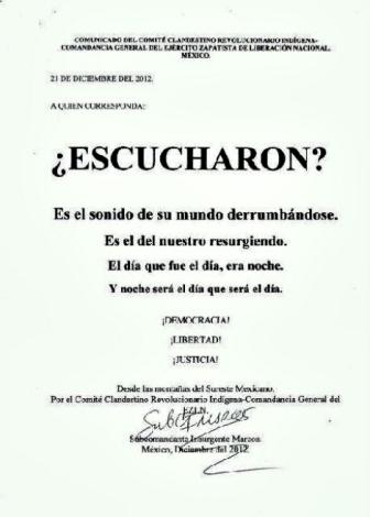 Comunicado del subcomandante Marcos reproducido en el periódico Milenio.