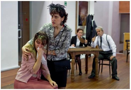 Cristina Calleja, Mercedes Asenjo, Chus de Lara y Carlos Tapia, en la obra 'El juicio de Dayton'. Foto: Marta Vidanes.