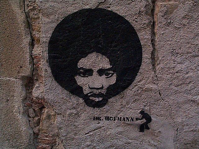 Jimmy Hendrix graffiteado por Dr. Hofmann. Barcelona.