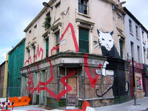 Rat, Liverpool, UK. Graffiti de Banksy.
