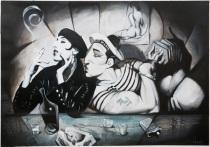 FERNANDO VICENTE y PACO NAVARRO. Rossy y el marinero, ca.1986. Acrílico sobre papel. Colección particular.