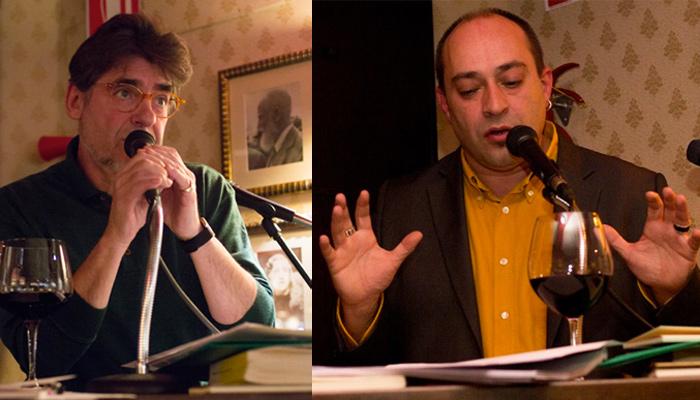 Ildefonso Rodríguez y Víctor M. Díez durante un recital, hace unos días, en el bar Chelsea (León). © Fotografías: Santos M. Perandones.