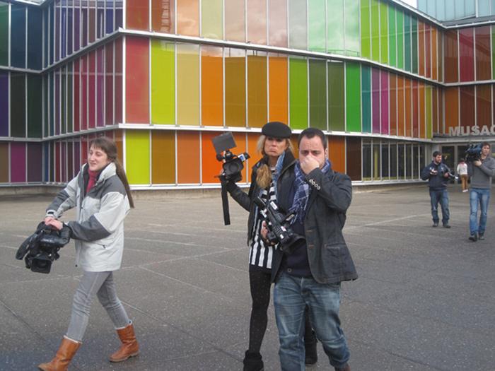 Periodistas leoneses a la entrada del Musac, en una imagen de archivo. Foto: E. Otero.