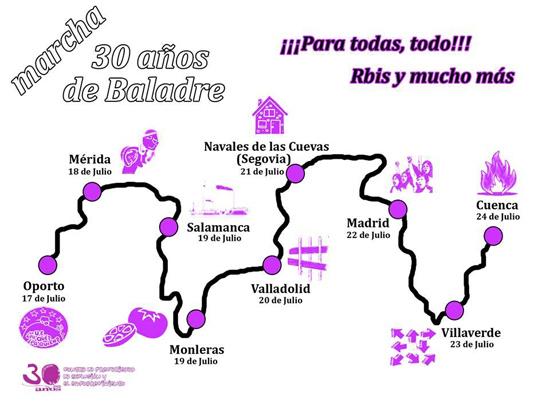 Cartel de las ciudades de la marcha de Baladre.