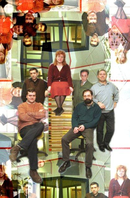 La sección de Cultura en 2001: David Rubio, Javier Hernando, Eloísa Otero, Perelétegui, Carlos del Riego, Joaquín Revuelta (faltan Fulgencio Fernández y Ana Ustáriz).
