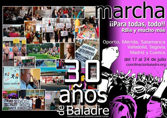 Cartel de la `Marcha por los los 30 años de Baladre´.