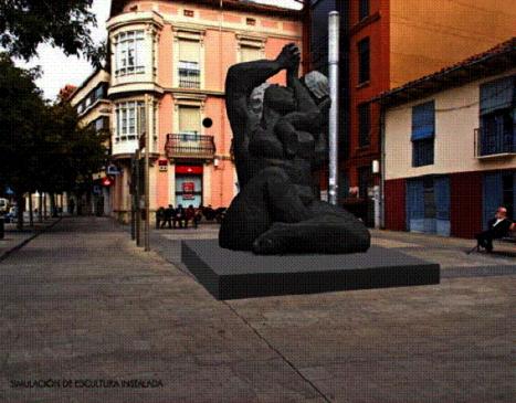 Simulación de la escultura de Castorina