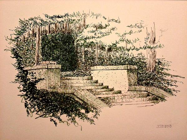 Apunte de la escalinata del Coto. Por José Carlos Sanz Belloso.