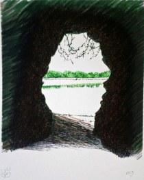 El Mar desde la Gruta y los reflejos del dique. © Ilustración:  José Carlos Sanz Belloso.