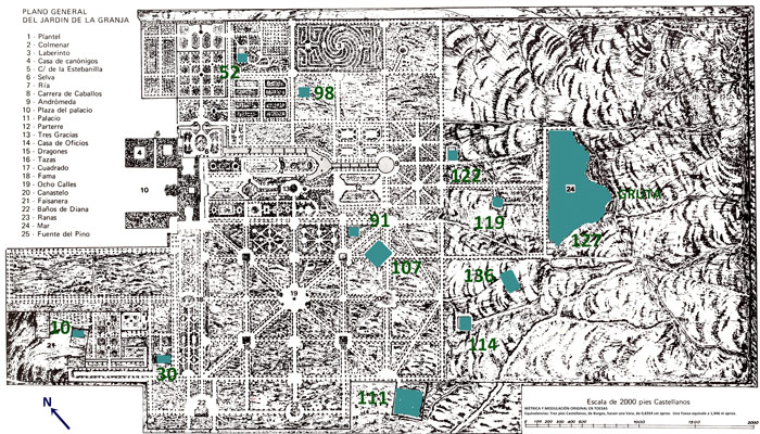 Plano de estanques de La Granja.
