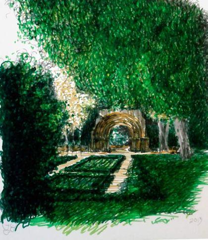 Paseo de la Isla. Vista con portada románica. © Ilustración: José Carlos Sanz Belloso.