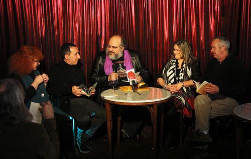 Presentación de 'Cosas' en El Gran Café de León. Eloísa Otero, Fernando González Santamarta, Felipe Zapico, Ana Campos, Santi Tomé. © Fotografía: juanluisgx.