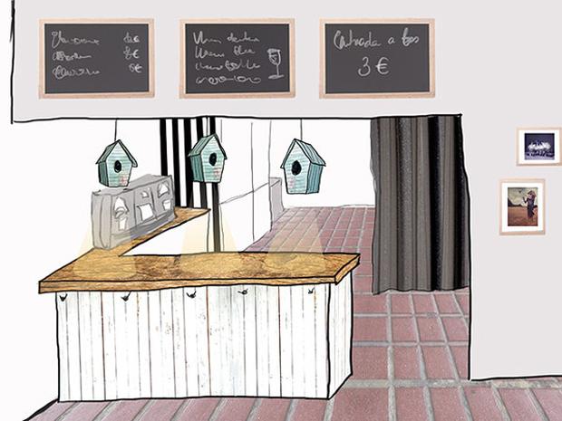 Imagen de la reforma de la sala de espera y cafetería que quieren financiar mediante el micromecenazgo.