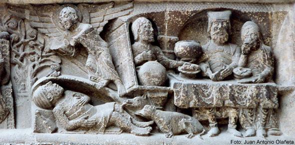 El banquete del rico Epulón y muerte del pobre Lázaro frente a la puerta de la casa del rico. / Moissac (Tarn-et-Garonne, Francia). Abadía de Saint-Pierre.