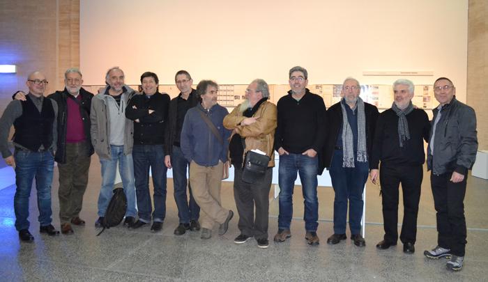 Una imagen antológica: los miembros de A UA CRAG, reunidos, este sábado 18 de enero de 2014 en el Musac, durante la inauguración de la exposición. © Fotografía: Izaskun Sebastián.