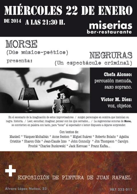 Cartel de la actuación en el bar Miserias.