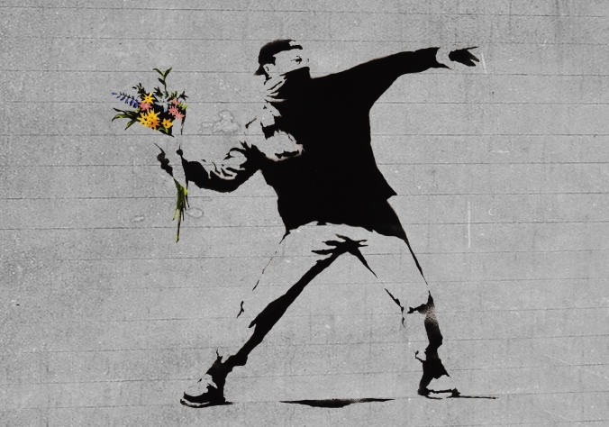 Flower Brick Thrower. © Banksy.