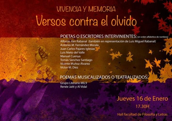 Cartel de 'VIVENCIA Y MEMORIA. VERSOS CONTRA EL OLVIDO'