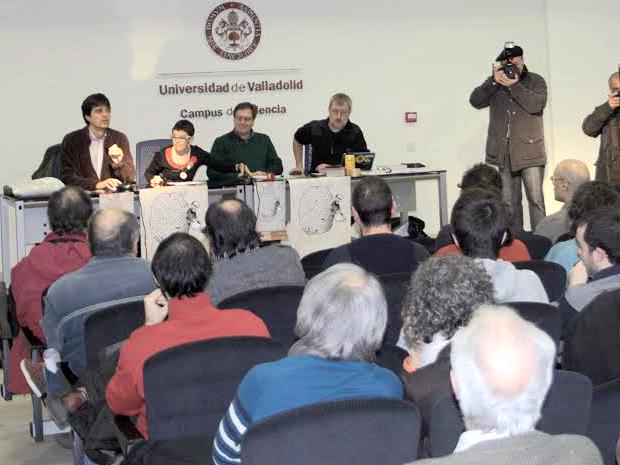 Presentación de la asociación en Palencia. En la mesa, de izquierda a derecha: Juan Gascón, Nieves Fernández, Javier Gutiérrez y Jorge Riechmann.
