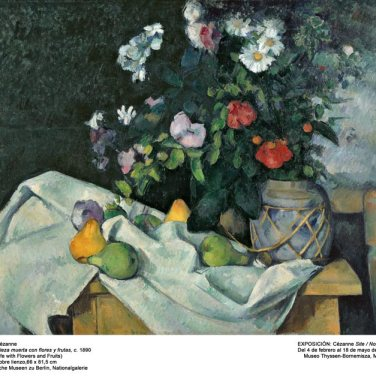 "Naturaleza muerta con flores y frutas. ""Cézanne site / non-site"". Museo Thyssen-Bornemisza."