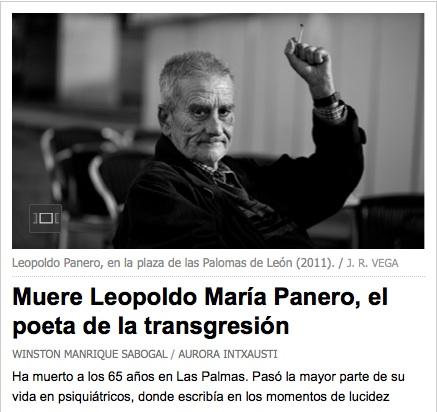 Leopoldo María Panero en una foto de José Ramón Vega (captura de la portada de elpais.com).