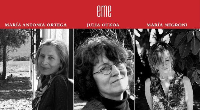 """Las tres poetas que abren la colección """"eme"""" de Ediciones La Palma."""