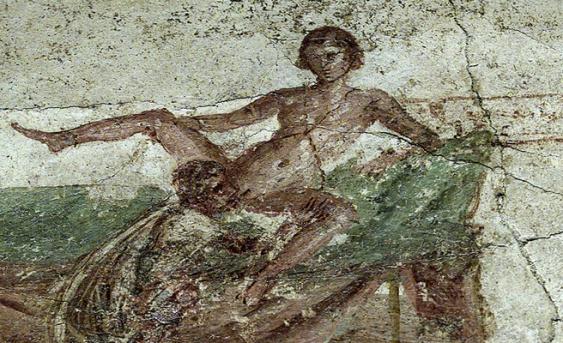 Pintura mural en las ruinas de Pompeya (Italia).