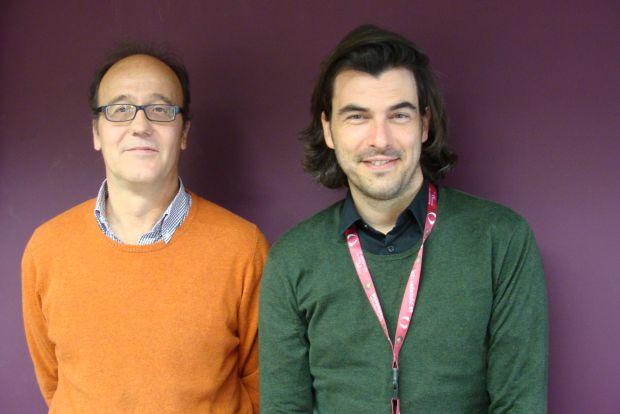 Javier Jiménez (presidente de la Asociación de Malabaristas de Madrid) y Yohann Floch (coordinador de FACE). Foto: L. Fraile.