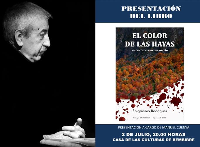 Epigmenio Rodríguez, en una foto de Juan Luis García, y el cartel de la presentación.