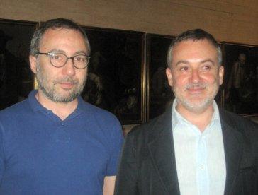 El director del Museo de León, Luis Grau Lobo, y el director del Musac, Manuel Olveira. © Fotografía: Eloísa Otero.