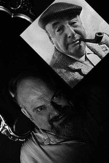 Los poetas Felipe Zapico (en una fotografía de Dulce Escribano) y Pablo Neruda en un montaje de Kokotera.
