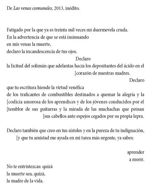 """Un poema de Gamoneda, del libro inédito """"Las venas comunales"""", aparecido recientemente en el libro """"Marcas de cantores"""" (Quinto encuentro poético en San Miguel de Escalada)."""