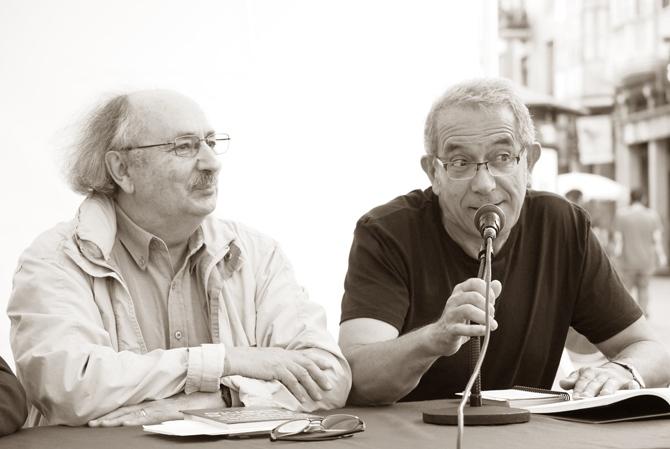 Antonio Colinas y Tomás-Néstor Marínez. © Fotografía: Eloy Rubio Carro.
