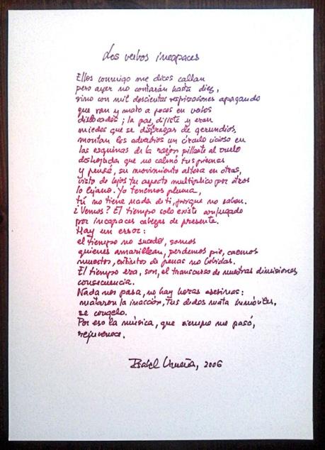 El poema, manuscrito por Isabel Urueña.