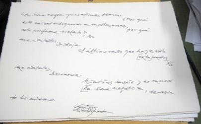 Poema manuscrito de Gamoneda.
