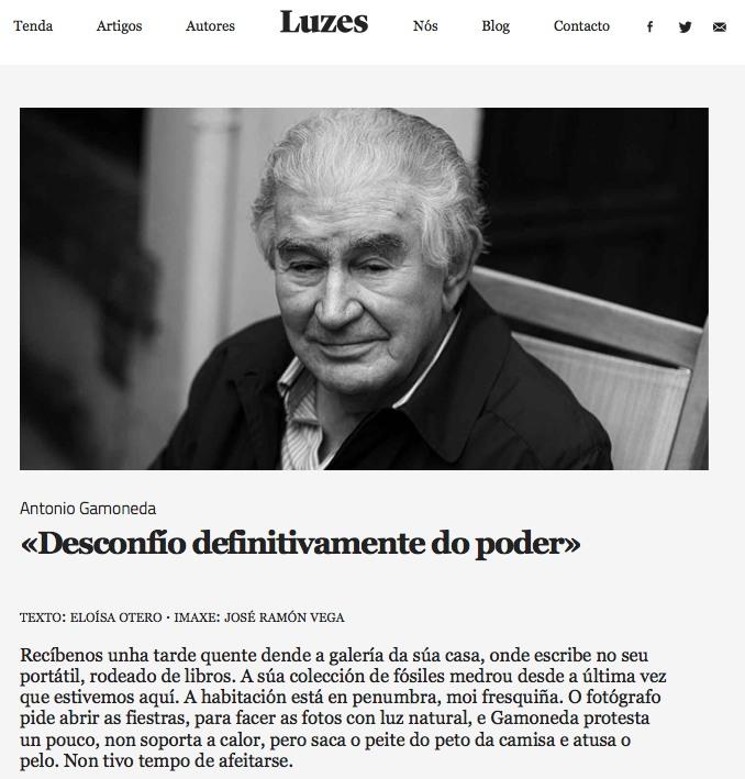 Entrevista con Antonio Gamoneda en la revista Luzes.
