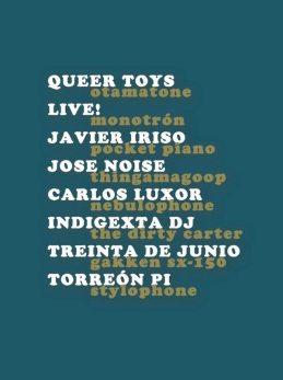 Cartel de la  actuación de Queer Toys con Indigexta DJ en el Torreón Pi, el 30 de junio de 2014.