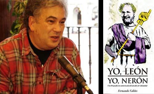 """El periodista Fernando Valiño y, a la derecha, la portada de su libro """"Yo León, Yo Nerón""""."""