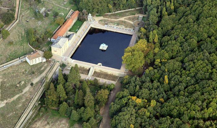 Vista aérea de las terrazas del núcleo central de El Bosque de Béjar. © Fotografía: José Carlos Sanz Belloso.
