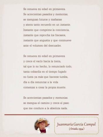"""Poema de Juan Campal, maquetado por Ángeles Rodríguez para el """"Tendedero"""" del Pasquín."""
