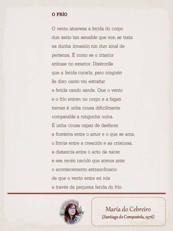 """Poema de María do Cebreiro, maquetado por Ángeles Rodríguez para el """"Tendedero"""" del Pasquín."""