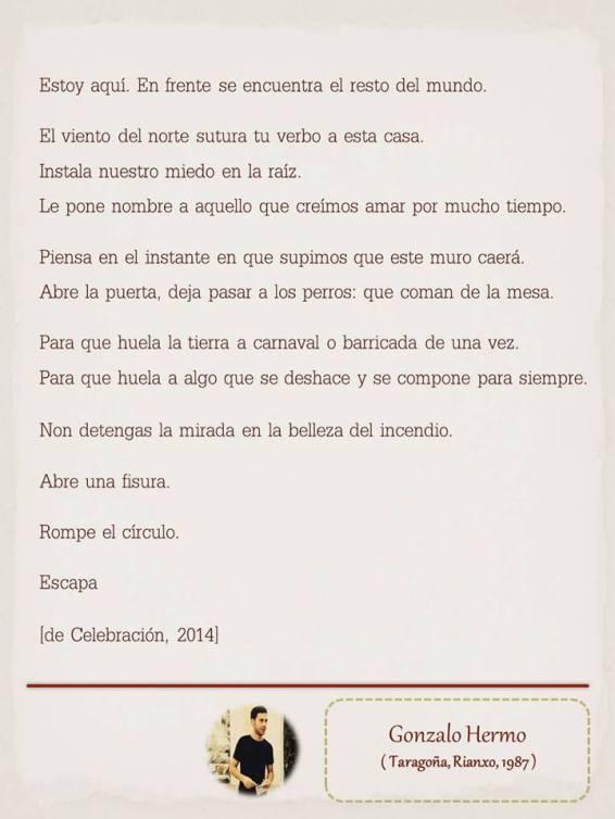 """Poema de Gonzalo Hermo, maquetado por Ángeles Rodríguez para el """"Tendedero"""" del Pasquín."""