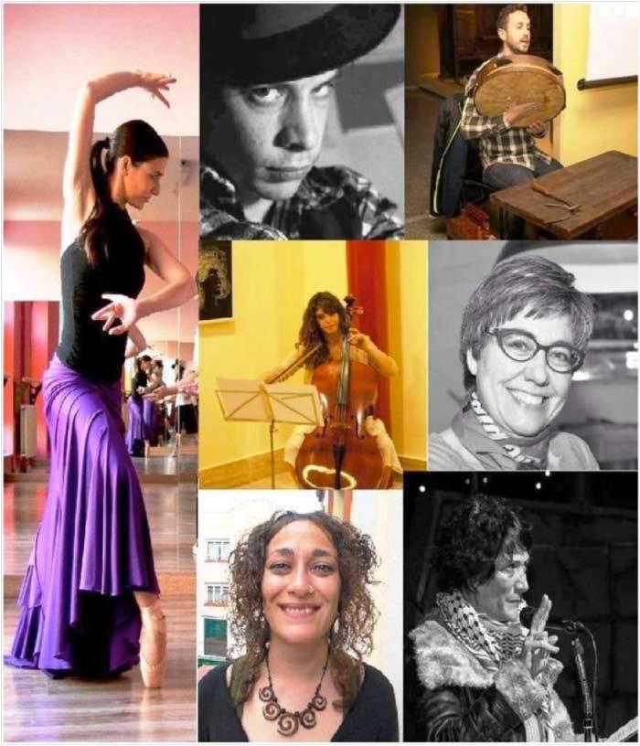 De izquierda a derecha y de arriba  abajo: Silvia Domínguez (danza española), Juan Rafael (cartelista), Diego Acebo (luthier y música tradicional), Mónica Jorquera (violonchelo), Asunción Carrecedo (rapsoda), María Vázquez (rapsoda), Patricia Furlong (rapsoda).