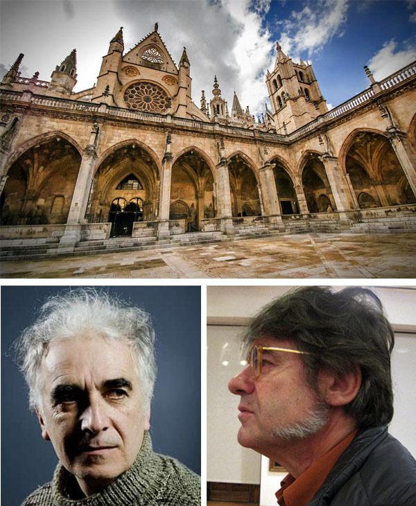 En la imagen superior, el claustro de la catedral de León, en una fotografía de Mariluz Rodríguez. La foto de Bernardo Martínez (abajo, izquierda) es de lavozdegalicia.es y la de Ildefonso Rodríguez (abajo, derecha) de E. Otero.