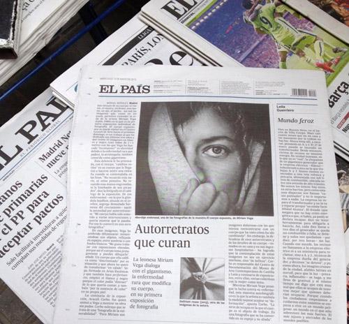 Última página en El País del 13-5-2015, dedicada a Miriam Vega..