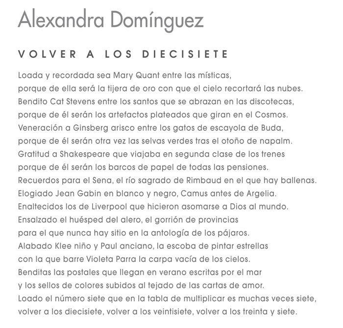 Poema de Alexandra Domínguez que acompaña a la exposición de obra plástica.