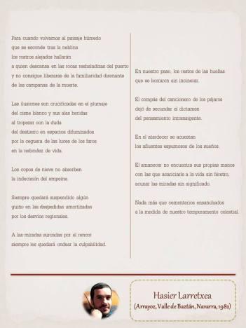 """Poema de Hasier Larretxea maquetado por Ángeles Rodríguez para el """"Tendedero poético"""" de Le Pasquín 2015."""