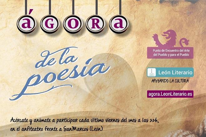 El cartel de León Literario dedicado al Ágora.
