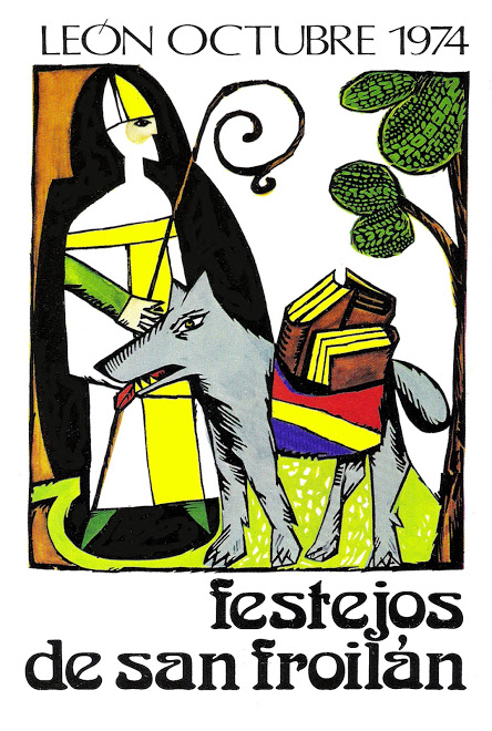 Este cartel de San Froilán, realizado por el pintor Manuel Jular,, fue censurado en 1974 (a causa de las alforjas republicanas del lobo).